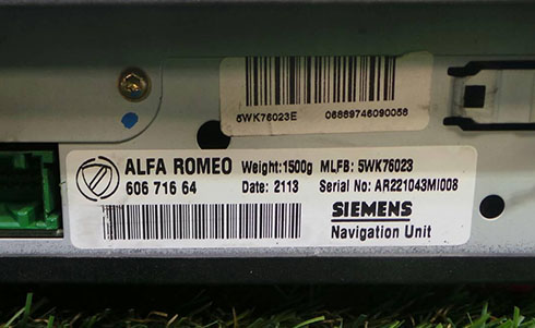 alfa romeo radio serial number
