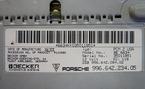 becker radio serial number