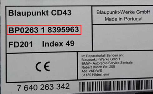 bmw radio serial number