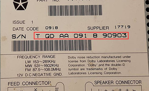 chrysler radio serial number