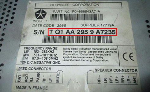 chrysler serial number