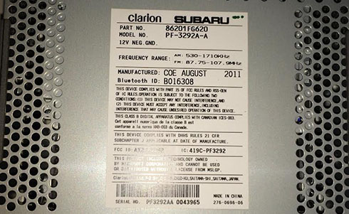 clarion radio serial number
