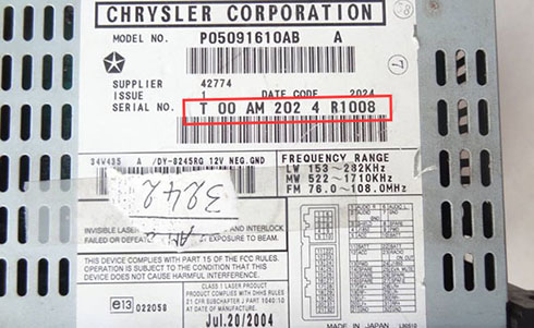 dodge radio serial number