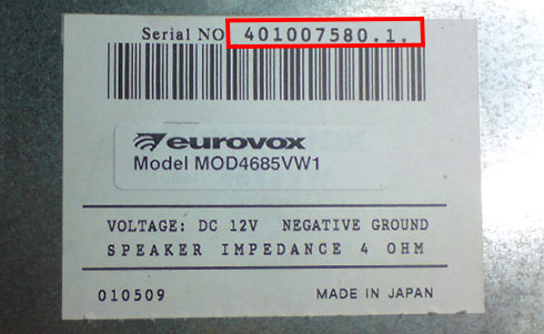 eurovox serial number