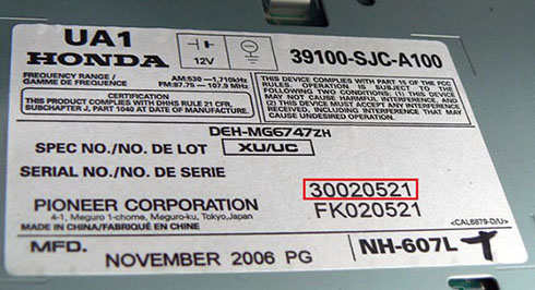 honda radio serial number