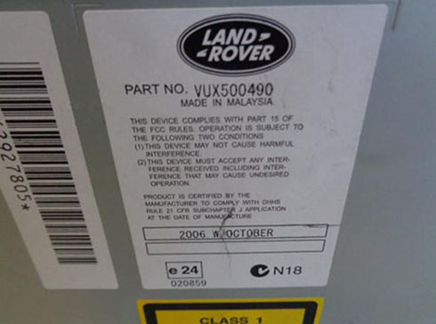 land rover radio serial number