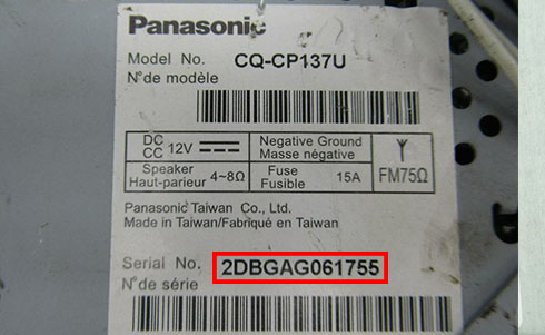 panasonic radio serial number