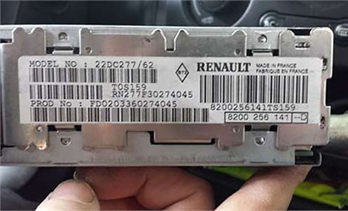 renault radio serial number