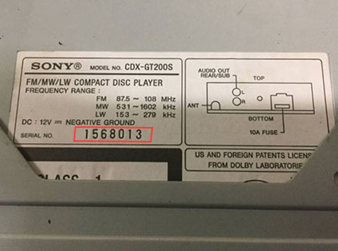 sony radio serial number