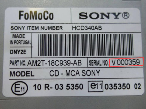 sony serial number