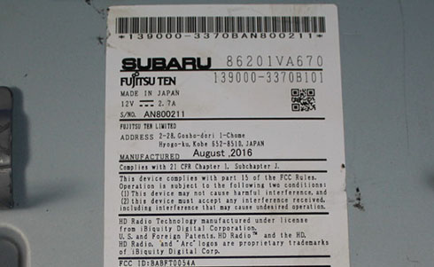 subaru radio serial number