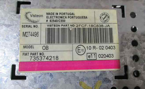 visteon radio serial number